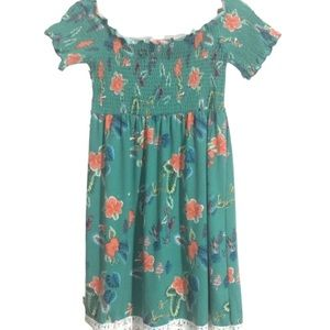 🆕BB Boho Green Floral Smocked Short Dress